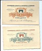 2 Cartes Commerciales Anciennes (différentes) De Yves LE GOASTER - Marbres - PORT-LAUNAY - Vente Directe X - Otros Municipios