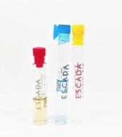 3 échantillons De Parfum Tubes  ESCADA ISLAND KISS  EDT +  ESCADA  EDP  +  ROCKIN ' RIO  EDT - Echantillons (tubes Sur Carte)