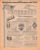 1926 - TAIN-L'HERMITAGE - ARTICLES POUR FÊTES - A. ROBERT ARTIFICIER - ILLUMINATIONS - Historische Dokumente