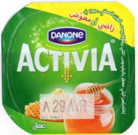 "Opercule Cover Yaourt Yogurt "" Danone "" ACTIVIA Miel Honey Yoghurt Yoghourt Yahourt Yogourt Satisfait Ou Remboursé - Koffiemelk-bekertjes"
