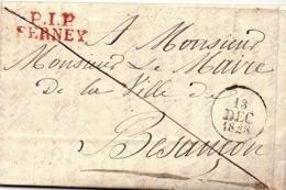 """AIN - FERNEY - Marque Port Payé Sur LAC : """" P1P / FERNEY ( Rouge ) Pour Besançon (13 - 12 - 1828) - 1801-1848: Precursori XIX"""
