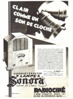 "PUB RADIO SUPERHETERODYNE 7 LAMPES  "" SONORA  ""   1932 ( 2 ) - Other"