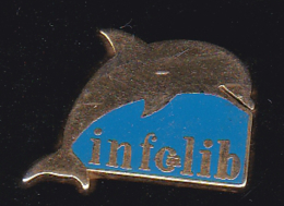 60058-Pin's. Infolib à Clermont Ferrand . Informatique.dauphin.signé Impulsion. . - Informatique