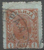 Serbia - 1898 King Alexander 1pa Red/grey  Used  Sc 48a - Serbia