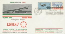 CANADA 1967 MONTREAL EXPO 1967 ITALY'S DAY Special Event Postmark TWO-COUNTRIES - 1952-.... Règne D'Elizabeth II