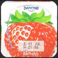 "Opercule Cover Yaourt Yogurt "" Danone "" Fruité Fraise Strawberry Erdbeere Yoghurt Yoghourt Yahourt Yogourt - Opercules De Lait"