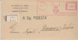 Roma . 1926. Affancatura Meccanica PIO ISTITUTO DI S. SPIRITO ED OSPEDALI RIUNITI DI ROMA, Su Busta Raccomandata - Affrancature Meccaniche Rosse (EMA)