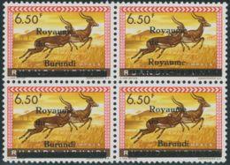 BURUNDI 1962 6.50 Fr. Impala U/M Block Of Four MAJOR VARIETY: One Stamp MISPRINT - 1962-69: Ongebruikt