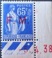 R1615/1133 - 1938 - TYPE PAIX - F.M. - N°8 NEUF** CdF Daté CHIFFRES ROUGES DECALES - Franchise Militaire (timbres)