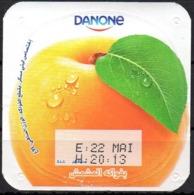 """Opercule Cover Yaourt Yogurt """" Danone """" Fruité Abricot Apricot Yoghurt Yoghourt Yahourt Yogourt - Opercules De Lait"""