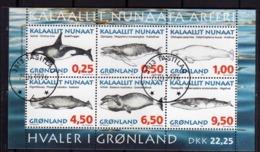 GREENLAND GRONLANDS GROENLANDIA GRØNLAND 1996 SEA FAUNA WHALES BALENE BLOCK SHEET BLOCCO FOGLIETTO FIRST DAY CANCEL FDC - Blocks & Sheetlets