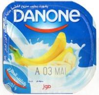 "Opercule Cover Yaourt Yogurt "" Danone "" Banane Banana Yoghurt Yoghourt Yahourt Yogourt - Opercules De Lait"