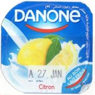 "Opercule Cover Yaourt Yogurt "" Danone "" Citron Lemon Yoghurt Yoghourt Yahourt Yogourt - Opercules De Lait"