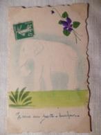 Cpa Fantaisie Elephant Fleur Violette Postcard Violet Carte Postale Ancienne - Éléphants