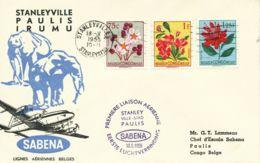 BELGISCH-KONGO 1955 Selt. Kab.-Inlands-Erstflug Der SABENA Stanleyville - Paulis - Congo Belge