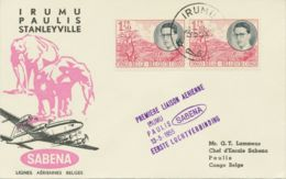 "BELGISCH-KONGO 1955 Sehr Selt. Kab.-Inlands-Erstflug Der SABENA ""IRUMU – PAULIS"" - Congo Belge"