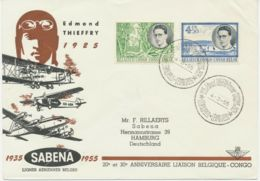 BELGISCH-KONGO 1955 Sonderflug Der SABENA 20 Jahre SABENA LEOPOLDVILLE - HAMBURG - Congo Belge
