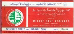 Ancien Billet/Ticket Avion . Lebanon. Middle East Airlines. Beirut/Jérusalem/Beirut. 1961. - Billets D'embarquement D'avion
