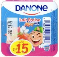 "Opercule Cover Yaourt Yogurt "" Danone "" Lait Fraise 15 DA Yoghurt Yoghourt Yahourt Yogourt - Opercules De Lait"