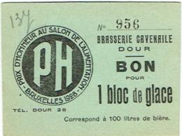 Ancienne Publicité Bière. Dour. Brasserie Cavenaile. Bon Pour 1 Bloc De Glace. - Publicités