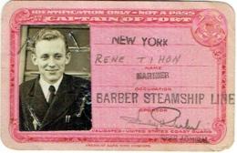 Bateau. Identification Card With Foto. Barber Steamship Line. New York. 1943. - Boten