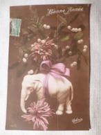 Cpa Fantaisie Elephant En Biscuit Bonne Année Gui Postcard Mistletoe Happy New Year Carte Postale Ancienne Ancien - Éléphants