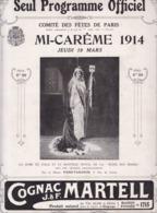 PROGRAMME OFFICIEL COMITE DES FETES PARIS 1914 / 16 PAGES / RARE - Programmes