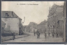 Carte Postale 59. Curgies  La Route Nationale  Trés Beau Plan - France