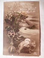 Cpa Fantaisie Elephant En Biscuit Bonne Année Vase Postcard Mistletoe Happy New Year Carte Postale Ancienne Ancien - Éléphants
