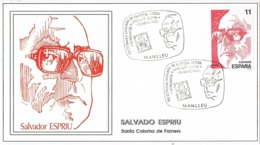 33970. Tarjeta Exposicion MANLLEU (Barcelona) 1986. SALVADOR ESPRIU, Santa Coloma Farnes - 1931-Hoy: 2ª República - ... Juan Carlos I
