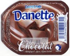 "Opercule Cover Yaourt Yogurt "" Danone "" Danette - Chocolat Chocolate Yoghurt Yoghourt Yahourt Yogourt - Opercules De Lait"