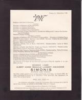 ESNEUX Curé Albert SIMONIS 1870-1948 Familles LIAGRE HALFLANTS ROBIN Faire-part Mortuaire - Esquela