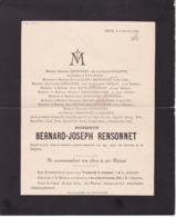 DISON Bernard-Joseph RENSONNET 77 Ans 1906 Famille COLLETTE BAIWY SAIVE Etc Faire-part Mortuaire - Esquela