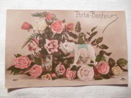 Cpa Fantaisie Elephant En Biscuit Porte Bonheur Rose Postcard Flower Carte Postale Ancienne Ancien - Éléphants