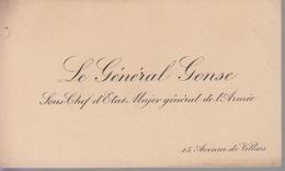 Carte De Visite - Le Général GONSE - Sous Chef D'Etat Major Général De L'Armée - Militaire Militaria - Cartes De Visite