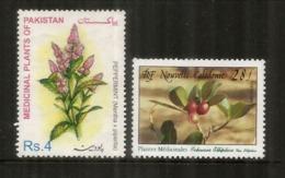Plantes Médicinales De N.Calédonie & Pakistan.(Menthe Poivrée & Kopsia)  2 Timbres Neufs ** - Medicinal Plants