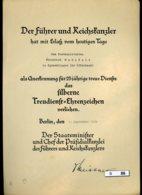 B-086, Verleihungsurkunde Silberne Treudienst=Ehrenzeichen, 1939, Reichskanzlei - Historische Dokumente