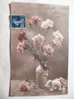 Cpa Fantaisie Elephant En Biscuit Vase Avec Oiseau Mésange œillet Postcard Flower Bird Carte Postale Ancienne Ancien - Éléphants