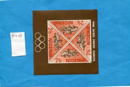 NIGERIA-Bloc Feuillet N° 4-Olympics Game Tokyo-1964 NON DENTELE  Neuf Sans Ch - Nigeria (1961-...)