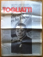 Togliatti - Che Cosa Ci Ha Lasciato - Supplemento Unità 14 Ottobre 1984 - Non Classificati