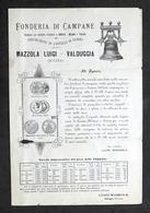 Pubblicità - Fonderia Di Campane - Mazzola Luigi - Valduggia - 1900 Ca. - Publicidad