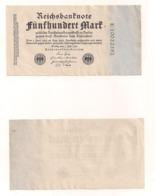 Reichsbanknote 500 Mark - Berlin, 7.Juli 1922 - [ 3] 1918-1933 : Repubblica  Di Weimar