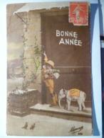 Cpa Fantaisie Elephant En Biscuit Bonne Année Enfant Garçon Neige Postcard Happy New Year Boy Carte Postale Ancienne - Éléphants