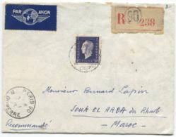 MARIANNE DE DULAC (Yvert N° 701) Sur Enveloppe Recommandée Pour Le Maroc Par Avion - 1944-45 Maríanne De Dulac