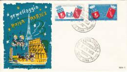 ITALIE - 1959 - FDC - Jumelage Rome-Paris - 6. 1946-.. Republic