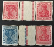 1920 Germania Kehrdruck KZ4 ( Strl Rot Unterbrochen,blau Oben Kurz) + KZ5*) - Zusammendrucke