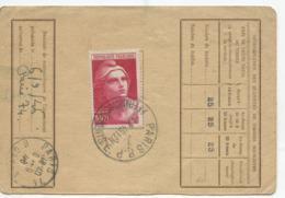 100f. Marianne De Gandon Gravé (Yvert N° 733) Sur Carte D'abonnement Incomplète - 1945-54 Marianna Di Gandon