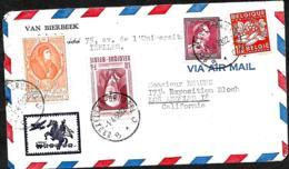Belgique. TP 763, 832, 881 + 895   L.  Avion Bruxelles 1 > Los Angeles  1953 - Belgique