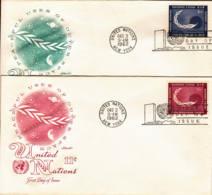 NATIONS-UNIES - New-York - 1962 -  Lot De 2 FDC -  Utilisation Pacifique De L'espace - New York - Sede De La Organización De Las NU