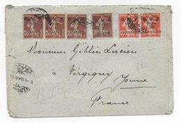 1921 - LIBAN - ENVELOPPE De BEYROUTH => VERGIGNY - SEMEUSE - Liban